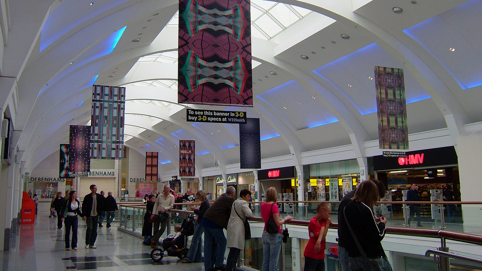 3D banners in Churchill Square Shopping Centre, Brighton / Photo: Mark Ware