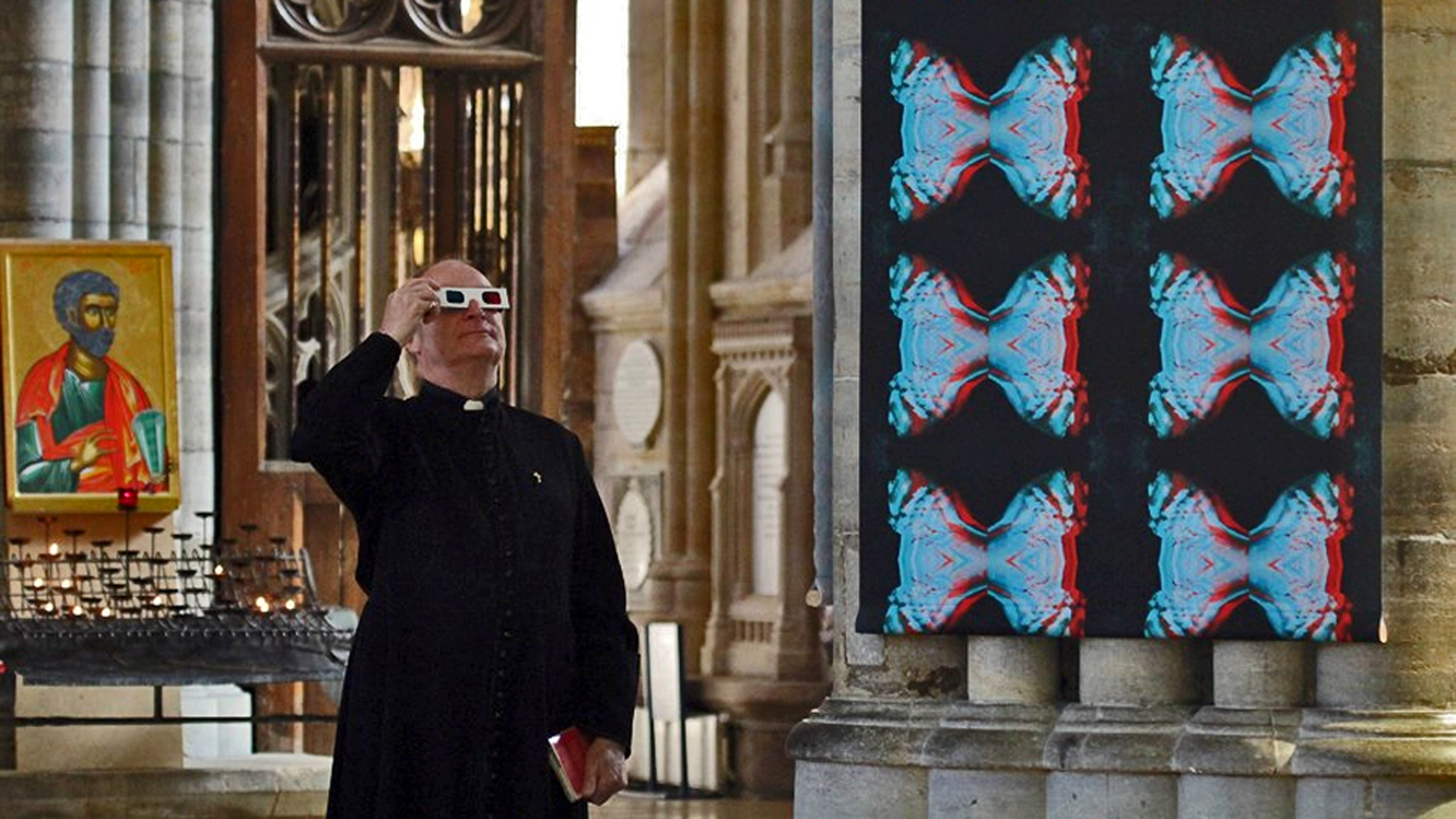Cathedra 900 3D art banner exhibition Exeter Cathedral nave 2012 / Photo: Mark ware
