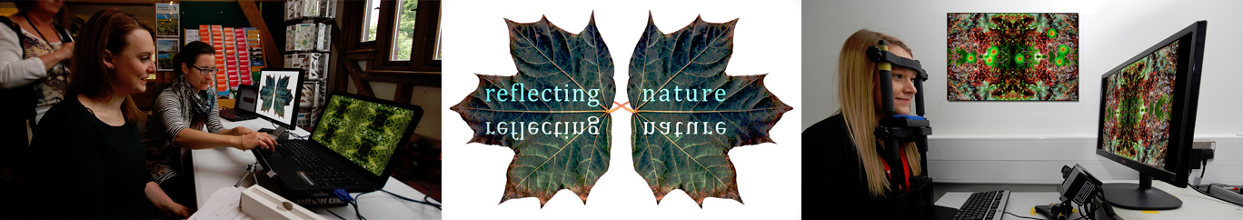 (left) Dr Nichola Street and Dr Gemma Hurst, Staffordshire University, (centre) Reflecting Nature art exhibition logo, (right) eye tracking at Staffordshire University